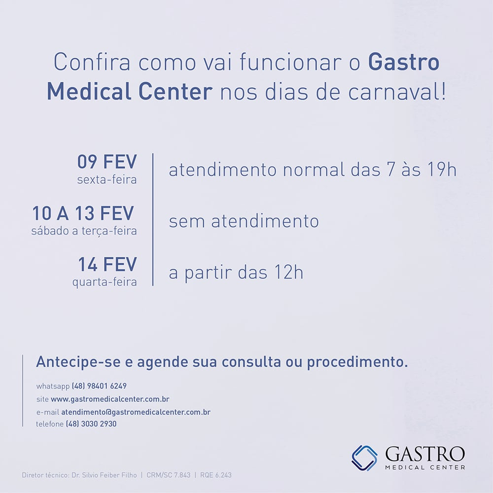 Horarios do Gastro Medical Center para o carnaval